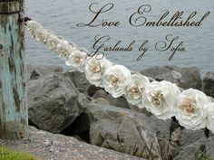 Rose Garland from Vintage Book Pages 36 by LoveEmbellished on Etsy