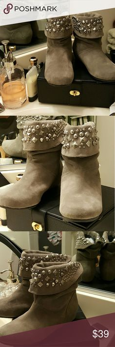 Gianni Bini Grey Suede Studded Flat Ankle Boots Gianni Bini Size 6 gray suede flat boots with metallic studs and beads along the upper part of boot.  Great shape. Gentle wear. Hard to find shoes. Wears great with linen breezy skirts and Free People style clothing. Gianni Bini Shoes Ankle Boots & Booties