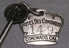 Historic Antique HOTEL del CORONADO California Skeleton Room Key & Tag Fob CAL