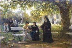Philip Lodewijk Jacob Frederik Sadée, Nonnen in de tuin van het Stella Maris klooster in Maastricht