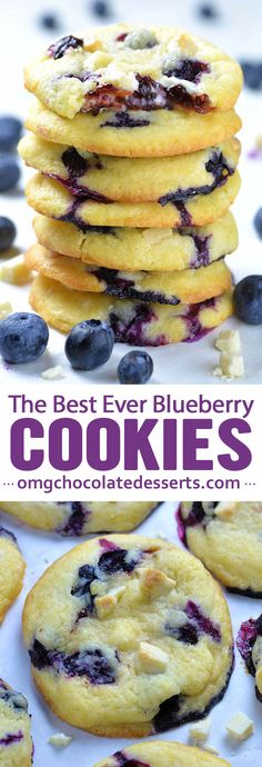 Best Ever Blueberry Cookies, Desserts, Best Ever Blueberry Cookies - sweet and tangy flavor combo, soft and chewy texture of these cookies and gooey filing in the center. Oreo Desserts, Just Desserts, Chocolate Desserts, Delicious Desserts, Dessert Recipes, Yummy Food, Recipes Dinner, Chocolate Chips, Yummy Cookie Recipes
