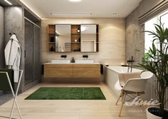 Bathroom design in natural style, wooden sink inspiration Sink Inspiration, Alcove, Studios, Bathtub, Bathroom, Natural, Style, Standing Bath, Washroom
