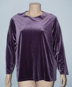Dialogue 2x Purple Long Sleeve Jewel Neckline Stretch Velvet Blouse Top #Dialogue #Blouse #Casual
