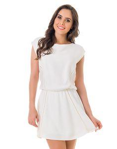 Vestido Liso de Manga Curta Branco - Lez a Lez