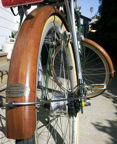 Fenders by Grandprey - Projects - Cherry wood Fenders Wood Bike, Beach Cruiser Bikes, Bike Parts, Vintage Bicycles, Custom Bikes, Google Images, Woodworking, Bike Stuff, Bicycling