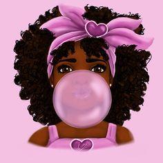 'Bubble Gum' Poster by Shakira Rivers - Black girl art - Black Love Art, Black Girl Art, Black Girl Magic, Art Girl, Pink Black, African American Art, African Art, American Women, Natural Hair Art