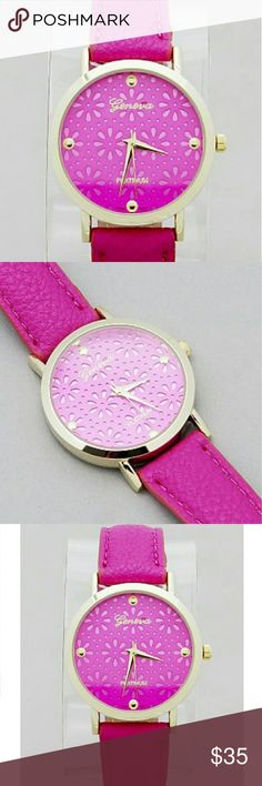 GORGEOUS CLASSIC CHIC  FUSHSIA LEATHER BAND WATCH Gorgeous classic chic fuchsia watch. Beautiful fuchsia leather band with floral detail face. Classic sleek style perfect for everyday glam! shopjewelry  Accessories Watches