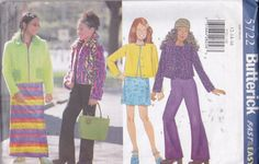 NEW AND UNCUT Butterick 5722 sizes12-14-16 for Girls Jacket, Top, Skirt and Pants. Maxi skirt, Boot cut pants. Top and pants for knits only by TreasuresFromGranny on Etsy