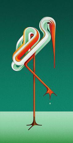 "graphic ""Animals"" - stork - digital illustration by Charles Williams (London, UK) on Behance 12927517 Art And Illustration, Illustration Design Graphique, Illustrations Posters, Animal Illustrations, Illustration Animals, Illustrator, Motifs Textiles, Kunst Poster, Art Design"