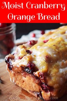Cranberry Orange Bread with glaze is a moist and easy Christmas dessert recipe. Perfect loaf cake for morning breakfast! Christmas Bread, Christmas Desserts Easy, Christmas Cranberry Cake, Holiday Bread, Mini Desserts, Christmas Recipes, Christmas Holiday, Xmas, Cranberry Orange Bread