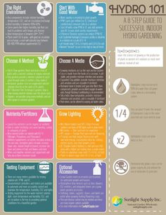 Hydro 101 Infographic for Sunlight Supply, Manufacturers & Distributors of Specialty Garden Supply Hydroponic Farming, Hydroponic Growing, Hydroponics System, Diy Hydroponics, Aquaponics Greenhouse, Aquaponics Fish, Gardening Supplies, Gardening Tips, Growing Grapes