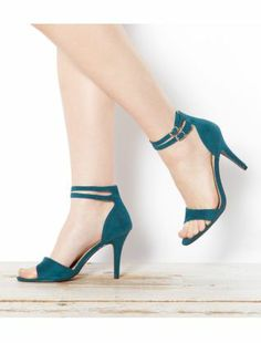 Teal Double Ankle Strap Heels