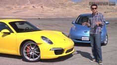 Porsche 911 and Nissan Leaf at Willow Springs Raceway