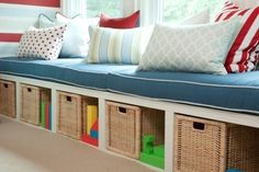 Bonus Room storage- bookshelves on there sides and then make foam mattressess... diy boys room