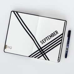 Minimalist monthly bullet journal page, September spread. @pacificnotation