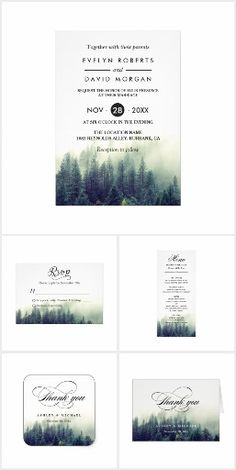 Invitation Suite: Winter Pine Tree Forest Theme Wedding Invitations