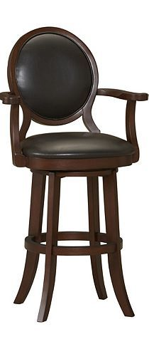 The Eagen swivel bar stool with leather upholstery brings casual elegance to your
