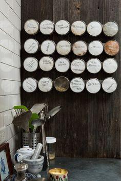 great way to display/shelve spices | Ellen & Greg's Renovated Loft Kitchen