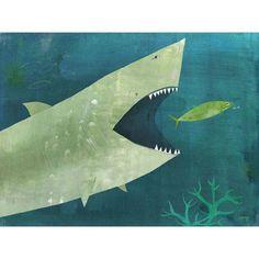 Oopsy Daisy - Uh Oh Shark Canvas Wall Art 14x10, Melanie Mikecz