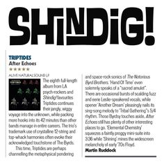 "★★★★★ 5 star review of TRIPTIDES ""Alter Echoes"" via SHINDIG! MAGAZINE 