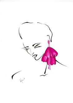 Picturesque in Oscar de la Renta earrings. Art by Fashion Strokes