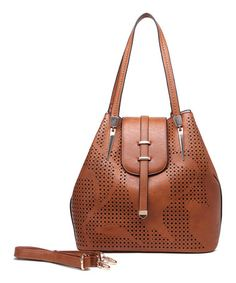 Loving this Brown Perforated Hobo & Pouch on #zulily! #zulilyfinds