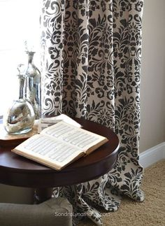 stencilled curtains from drop cloths, crafts, how to, reupholster, window treatments