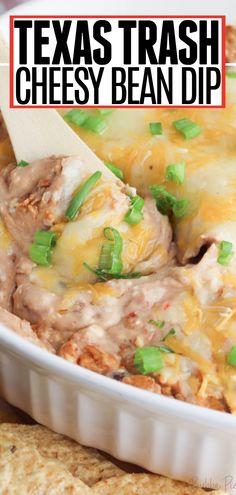 Bean Dip Recipes, Potluck Recipes, Mexican Food Recipes, Vegetarian Recipes, Refried Bean Dip, Homemade Refried Beans, Recipes With Refried Beans, Cream Cheese Bean Dip, Sour Cream Dip
