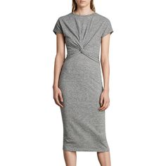 BuyAllSaints Paloma Long Stripe Dress, Charcoal Grey, XS Online at johnlewis.com
