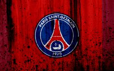 Download wallpapers FC PSG, 4k, red background, Paris Saint-Germain, logo, Ligue 1, stone texture, PSG, grunge, soccer, football club, metal texture, Liga 1, PSG FC