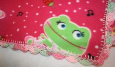 Hot Pink Frogs Crochet Edge Fleece Baby by MonaSewingTreasures.