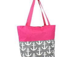 White and Fuchsia Anchor Tote with FREE MONOGRAMMING - Edit Listing - Etsy