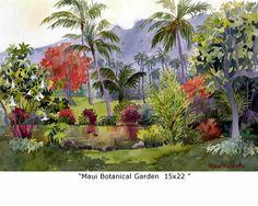 Marie Gabrielle Watercolor Landscape, Landscape Art, Watercolor Paintings, Watercolours, Botanical Gardens, Maui, Landscapes, Tropical, Artist