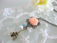 Paris Romance. Sweet whimsical pretty and unique necklace. For everyday or special occasions. via Etsy