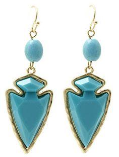 Turquoise Spearhead Stone Earrings from Helen's Jewels