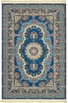 Dark Blue 2 x 6 Dynasty Rug Floral Area Rugs, Large Area Rugs, Modern Rugs, Dark Blue, Blue Gold, Pattern Wallpaper, Quilting Designs, 9 And 10, Rugs On Carpet