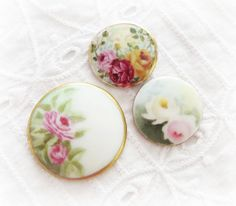Porcelain HandPainted Vintage Post Buttons by AnniesShabbyAttic, $30.00