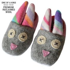 Easter basket gift ideas for kids: Handmade reclaimed wool Bunny slippers by Cate + Levi Handmade Baby Gifts, Handmade Toys, Diy Gifts, Xmas Gifts, Easter Gift Baskets, Basket Gift, Bunny Slippers, Cool Mom Picks, Baby Bunnies