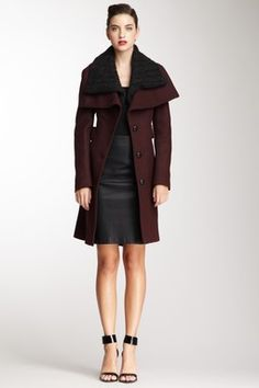 Mackage Leather Trim Wool Coat