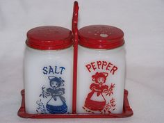 Vintage Milk Glass Salt and Pepper Shaker and Tray set