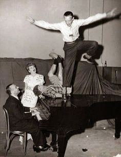FRED ASTAIRE, HARPO MARX AND LUCILLE BALL WITH JOSE ITURBI