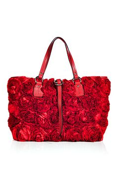 Valentino Red Satin Rose Embellished Tote