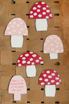 Your kids will love fingerpainting the spots on these toadstool valentines! Heart Day, Valentines Day, Stuffed Mushrooms, Handmade, Valentines, Hand Made, Velentine Day, Valentine's Day, Stuff Mushrooms