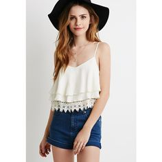 Forever 21 Women's  Layered Crochet Trim Cami ($18) ❤ liked on Polyvore featuring tops, camisoles & tank tops, v neck camisole, forever 21, forever 21 tank and v neck tank top