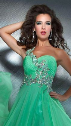 Sexy Prom Dresses 2014 New Arrival A Line Green Chiffon Beaded Crystals  Side Slit Long Evening Party Homecoming Gowns 4561d05a7a9c