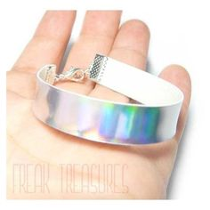 Rainbow holographic bracelet, Kawaii soft grunge pastel goth ❤ liked on Polyvore featuring jewelry, bracelets, gothic jewellery, holographic jewelry, hologram jewelry, rainbow jewelry and goth jewelry