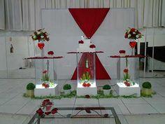 decoração de casamento vermelho e branco simples
