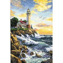 Needlework Crafts Embroidery Counted Cross Stitch Kits Lighthouse On Rocky Point Counted Cross Stitch Kits, Cross Stitch Charts, Cross Stitch Patterns, Cross Stitching, Cross Stitch Embroidery, Embroidery Kits, Dimensions Cross Stitch, Lighthouse Painting, Lighthouse Pictures