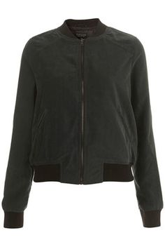 Suedette Contrast Bomber - StyleSays