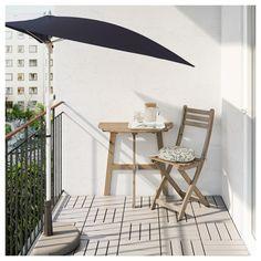 IKEA - ASKHOLMEN Wall table & folding chair, outdoor gray-brown